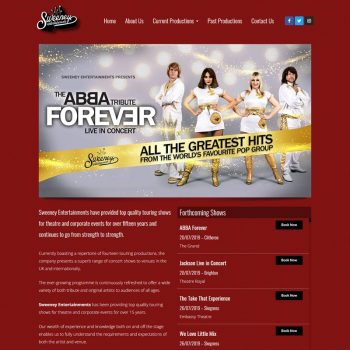 Sweeney Entertainments Website Design